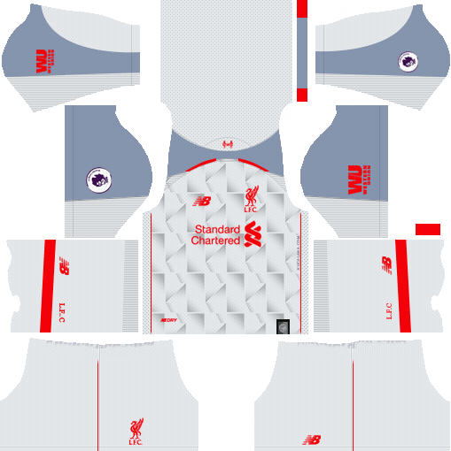 outlet store 2a75e f72d2 New Red Pepper Dream League Soccer Kits Liverpool 2018-19