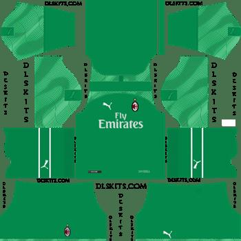 AC Milan Goalkeeper Home Kit 2019-2020 - DLS 19 Kits - Dream League Soccer 512x512 Kits URL